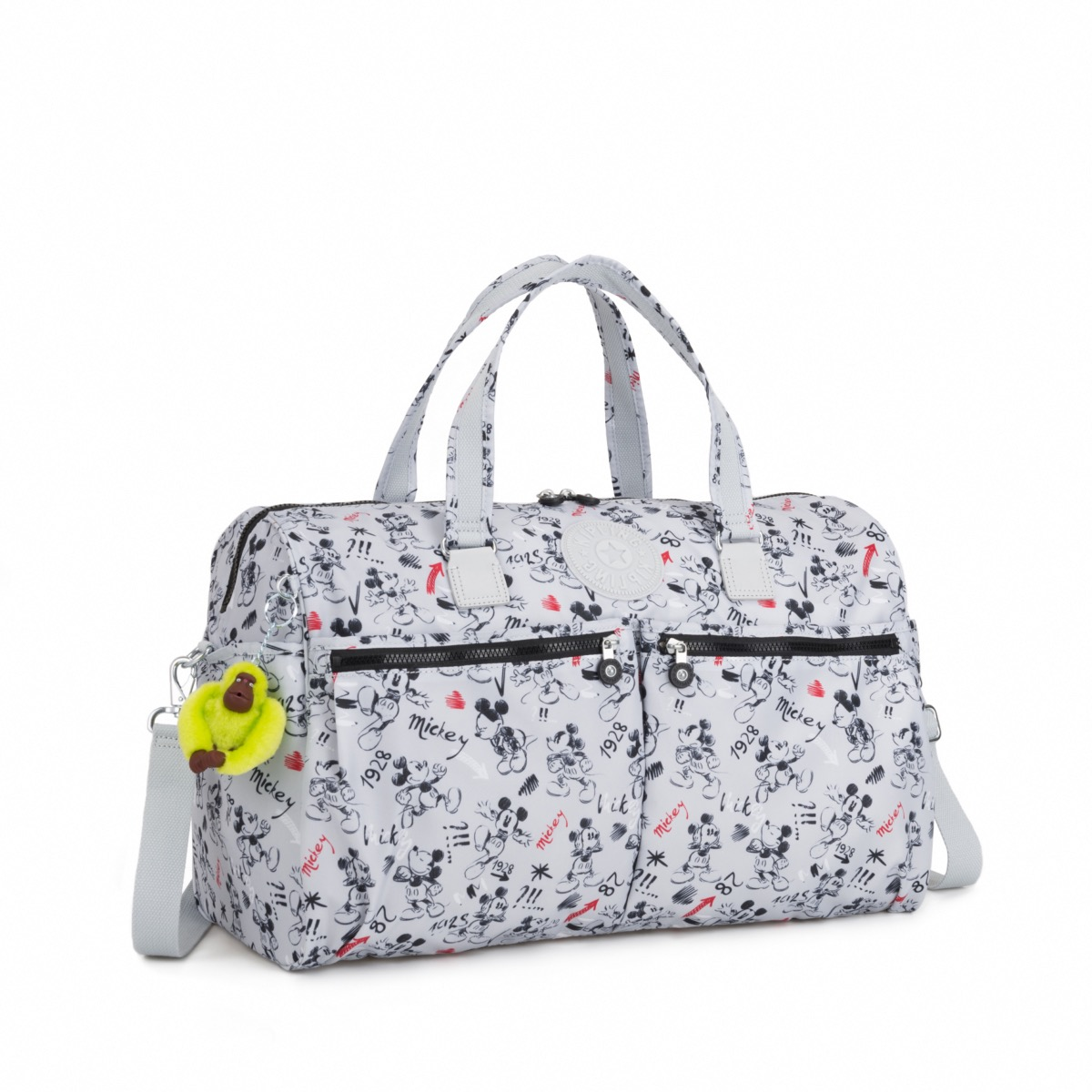 efe3faefe916 Kipling Disney D Itska Large Duffel Bag with Monkey Sketch Grey